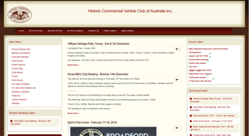 Historic Commercial Vehicle Club Website Screen Shot